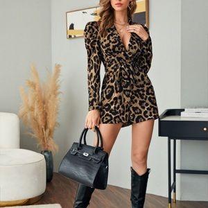 Cheetah Print  Puff Sleeve Belted Romper